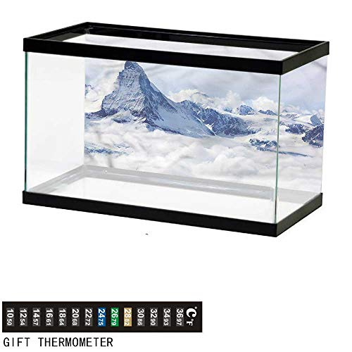 (Suchashome Fish Tank Backdrop Mountain,Clouds on Summit Winter,Aquarium Background,72