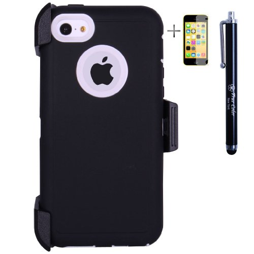 Heavy Duty High Impact Shockproof Dirtproof Hard + Soft Defender Case Cover for Apple iPhone 5c + Belt Clip Holster + Stylus + Screen Protector - Black & White