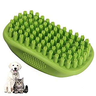 Icfun Pet Bath & Massage Brush Comb by Great Grooming Tool with Soft Rubber Bristles for Long & Short Hair Medium Large Pets Dogs Cats Shampooing and Shower