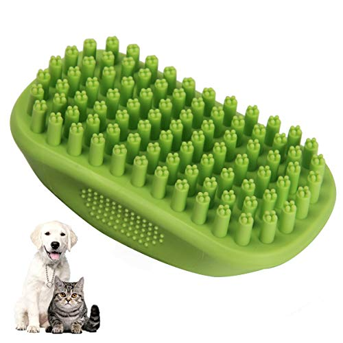 Icfun Pet Bath & Massage Brush Comb Great Grooming Tool Soft Rubber Bristles Long & Short Hair Medium Large Pets Dogs Cats Shampooing Shower