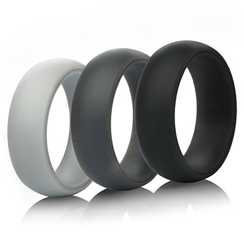 ThunderFit Mens Silicone Wedding Rings Wedding Bands  5 Pack  4 Pack  3 Pack  87mm Wide 2mm Thick