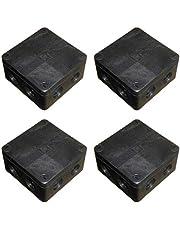 Utomhus kopplingsbox 91 mm x 47 mm med anslutningsblock och mjuka utslag svart vattentät IP66 (4-pack)