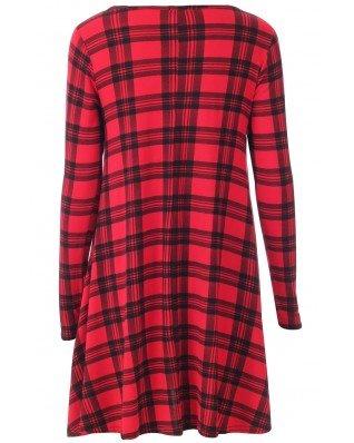 Fashion pour femme 4moins Nouvelles Plus Taille imprimé Tartan complet robe Swing à manches pour femme Taille 16–26.
