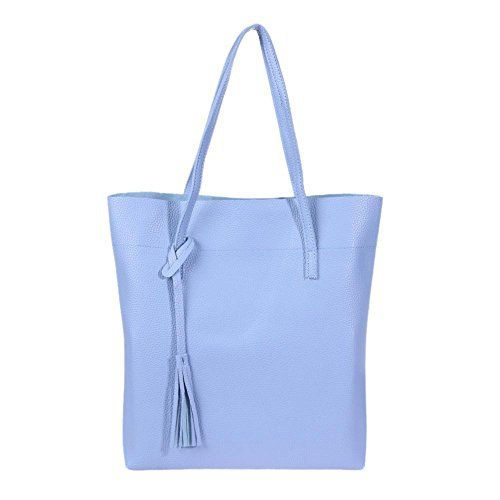 Women Domybest Pure PU Lichi Blue Casual Leather Totes Tassels Handbags Shoulder Shopping 55rqwA8