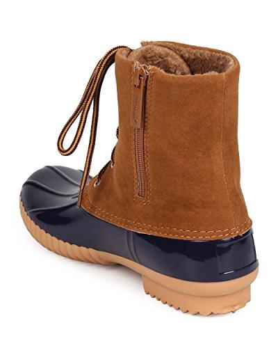 Nature Breeze EA52 Women Mix Media Suede Lace Up Zip Duck Boot Blue qrTbAW9w