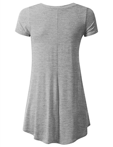 Liqy - Camiseta sin mangas - Asimétrico - para mujer Grey-V-Neck