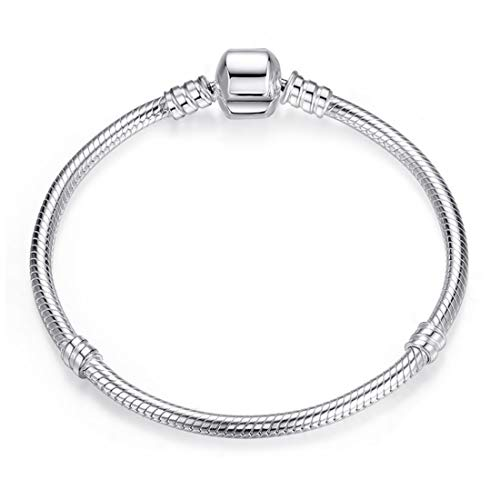 Silver Snake Chain Bracelet with Clasp Charms for Crafting Jewelry Findings Making Endearing Gifts for Her 17cm -