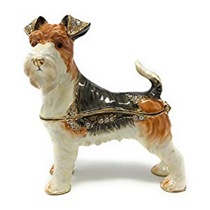 Kubla Craft Enameled Wire Fox Terrier Trinket Box, Accented with Austrian Crystals 15