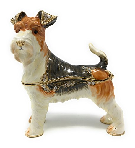 Fox Terrier Jewelry Wire - Kubla Craft Enameled Wire Fox Terrier Trinket Box, Accented with Austrian Crystals