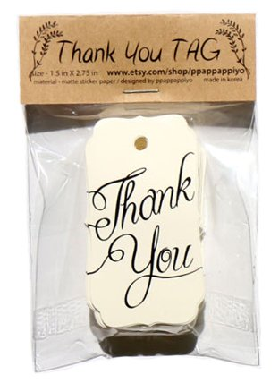Thank You tag - 65 Sheets Size 1.5 X 2.75 inch