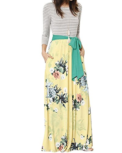 FISACE Womens Floral Tie Waist Striped Patchwork Maxi Dress 3/4 Sleeve Side Pocket Long Dress (Medium, Yellow) (Dress Printed Tie Empire)
