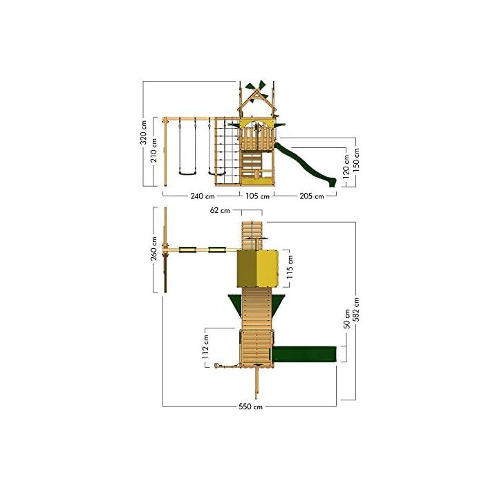 413rDFnU62L Parque de juegos con columpio doble, Cajón de arena grande - Calidad y seguridad aprobada Madera maciza impregnada a presión - Poste 7x7cm - Poste de columpio 9x9cm - Made in Germany Varias opciones de montaje - Instrucciones de montaje detalladas - Todos los tornillos necesarios