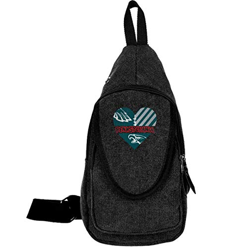 XIVEIER Outdoor Design I Love Pennsylvania Sports Logo Funny Canvas Shoulder Casual Bag For Mans Black (Best Weekend Trips In New York State)