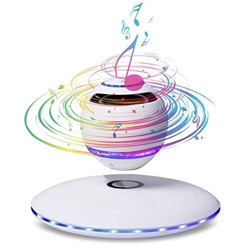 KYLINDRE Portable Bluetooth Speaker, Magnetic Suspension Speakers with Great Sound and Extra Bass, 7 Color LED 360 Degrees Rotation 10m Control Range,White
