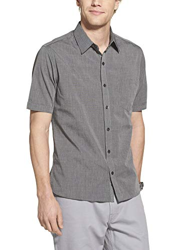 Geoffrey Beene Men's Slim Fit Easy Care Short Sleeve Button Down Shirt, Black Solid, ()