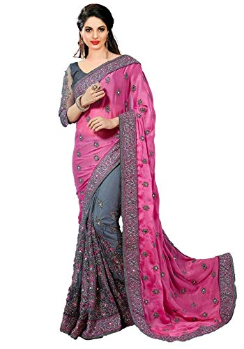 Panash Trends Women's Heavy Embroidery Work Satin Chiffon Net Saree