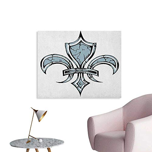Anzhutwelve Fleur De Lis Poster Wall Decor Grungy Lily Retro Renaissance Spirit Element Victory Vintage Art Print Art Poster Blue White Black W32 xL24 ()