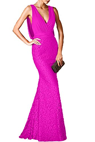 Charm Bridal Women Prom Dresses Deep V-neck Lace Evening Party Dresses Backless -4-Fuchsia by Charm Bridal
