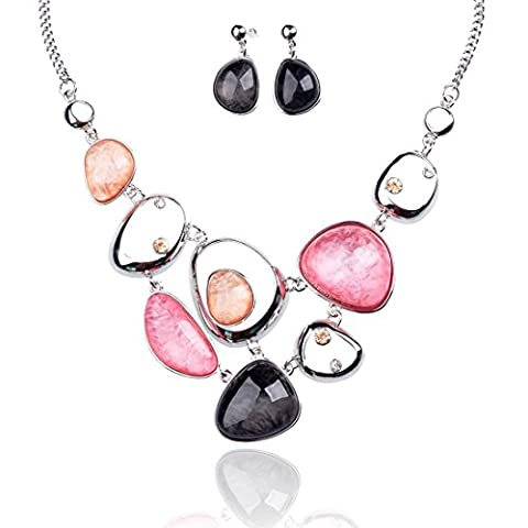TAGOO Cute Pink Jewelry Set for Women and Girls Pendant Necklace Drop Earrings Resin Crystal Rhinestone (Womens Chunky Jewelry)
