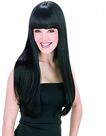 WADEO Peluca Negra Larga Lisa Pelo Natural Pelucas Mujer Pelo Natural Largo Con Flequillo 60cm