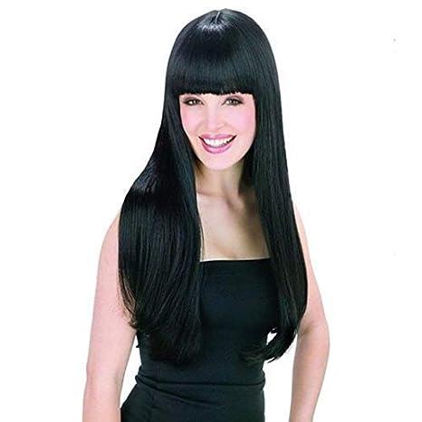 Peluca Negra Larga Lisa Pelo Natural Pelucas Mujer Pelo Natural Largo Con Flequillo 60cm