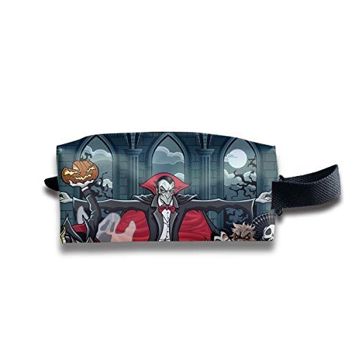 Halloween Dracula Vampire Characters Skull Multi-Function Key Purse Coin Cash Pencil Travel Makeup Toiletry Bag Box Case -