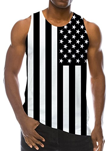 RAISEVERN 3D America Flag Black Print Funny Pattern Realistic Underwaist Gym Tank Tops for Men,America Flag,Medium