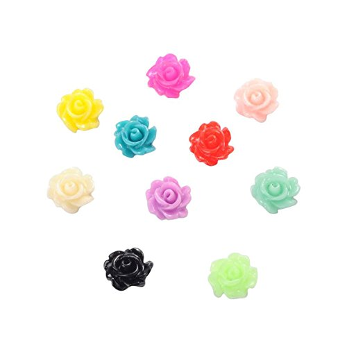 Cabachon Flowers - NBEADS 1000 Pcs Resin Cabochons, Flower, Mixed Color, 7x3mm
