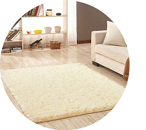 Super Soft Silk Wool Rug Indoor Modern Shag Area Rug Silky Rugs Bedroom Floor Mat Baby Nursery Rug Children Carpet,Beige Yellow,40X60cm]()