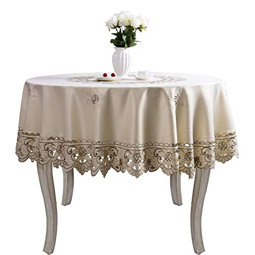 Brown Flower Embroidered lace Dark White Cream tablecloths for Round Tables Multi