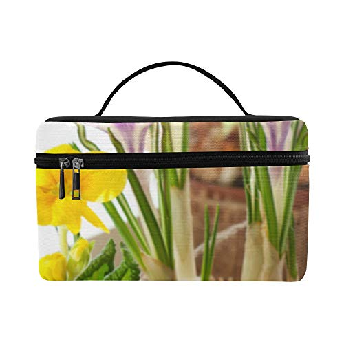 (Spring Yellow Flower Narcissus With Garden Pattern Lunch Box Tote Bag Lunch Holder Insulated Lunch Cooler Bag For Women/men/picnic/boating/beach/fishing/school/work)