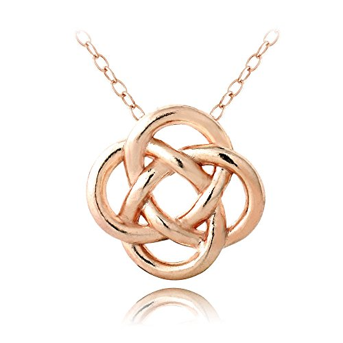 Hoops & Loops Flash Plated Rose Gold Sterling Silver Love Knot Flower Necklace (Gold Teardrop Heart)