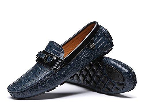 TDA ,  Herren Durchgängies Plateau Sandalen mit Keilabsatz , blau - blau - Größe: 43