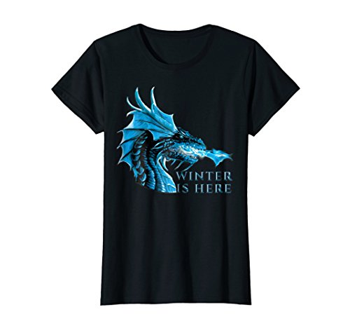 - Womens Winter is Here Blue Ice Flames Crystal Eyes Dragon T-Shirt Large Black