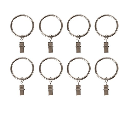 "32 Total) Chrome Metal Curtain Rings with Clips (1"" Diameter) - Clip Rings for Curtains"