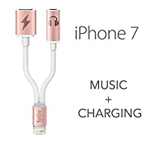 iPhone 7 Lightning to 3.5mm Audio Charge Earphone Jack Adapter Cable- Sprtjoy 2 in 1 Lightning Charging Port for the iPhone 7 7 Plus 6S 6 iPod iPad (Rose gold)