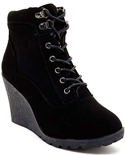 Carrini CA Collection Womens Fashion Padded Cuff Wedge Booties, Black/Black, Size 10, US