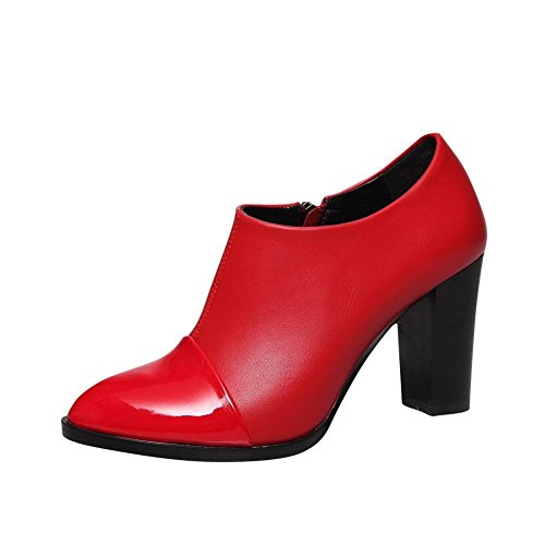 Carolbar Womens Zip Pointed Toe Retro Fashion High Chunky Heel Dress Ankle Boots Red