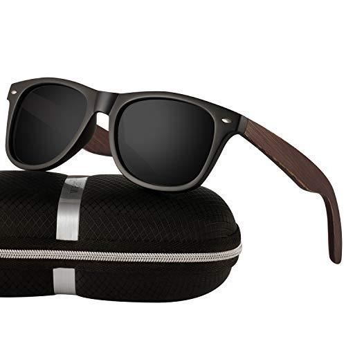 Polarized Wood Sunglasses for Men Women -wearPro Wood Sunglasses UV400 (matte Black, Nail)