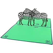 PopLife Zebra 3D Pop Up Greeting Card for All Occasions - Wild Animal, African Safari, Black and White, Stripe Pattern - Folds Flat for Mailing - Birthday, Get Well, Graduation, Anniversary, Thank Yo
