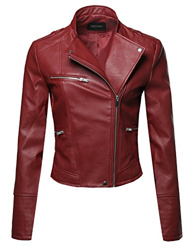 Casual Stitch Detail Asymmetrical Front Zipper Moto Leather Jacket Red Size M (Red Jacket Leather Women)