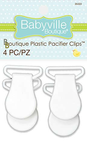 - Babyville Boutique 35322 Pacifier Clips, White (4-Count)
