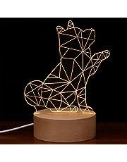 Uonlytech 3D Illusie Nachtlampje Akita Hond met Bell Nachtlampje voor Verjaardagscadeaus Kamer Slaapkamer Home Office Decoratie
