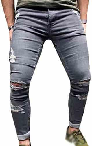 VonVonCo Mens Fashion Casual Vintage Elastic Wash Disstressed Denim Slim Trousers Jeans 28-42