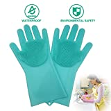 JBingGG Magic Silicone Dishwashing Gloves Magic Silicone Gloves Dishwasher Gloves Kitchen Tool for Cleaning, Dish Washing, Washing The Car, Pet Hair Care - 1 Pair (Green)