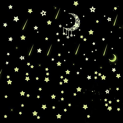 - Glow in The Dark Stars Wall Stickers Adhesive Stars 8 Meteors 2 Moon 78 Stars for Starry Sky, Decor for Kids Bedroom or Birthday Gift Beautiful Wall Decals for Any Room Lumnious Stars Stickers...