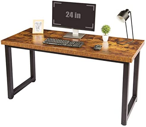 TOPSKY 59″ Big Large Computer Office Desk 1.18 Board 0.7 Frame Rustic Brown