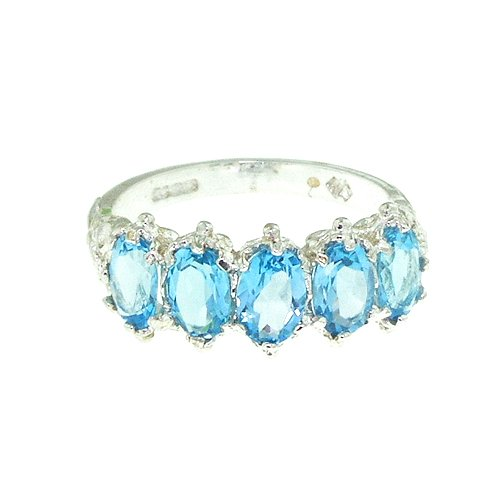 925 Sterling Silver Natural Blue Topaz Womens Eternity Promise Ring - Size 7.5