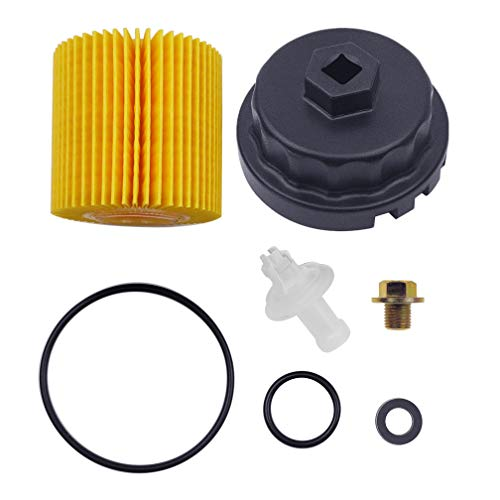 Genuine Oil Filter,Wrench,Oil Drain Plug for 2.5L 3.5L to 5.7L Engines,For Toyota Camry,RAV4,Highlander,Sienna,Tundra And More With 04152-YZZA1 Oil Filter-Fits 64mm Cartridge Style Oil Filter Housing
