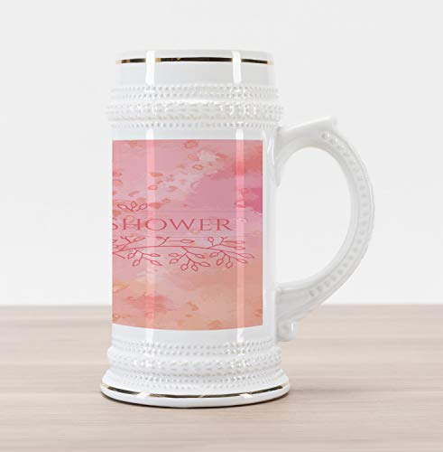 Ambesonne Bridal Shower Beer Stein Mug, Bride Invitation Grunge Abstract Backdrop Floral Design Print, Traditional Style Decorative Printed Ceramic Large Beer Mug Stein, Pale Pink and Salmon]()